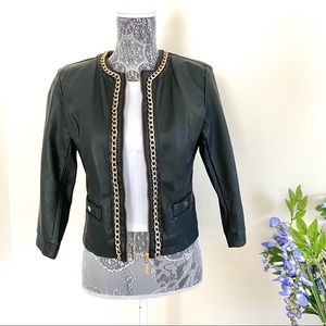 Black Leather Jacket with Gold Chain Trim